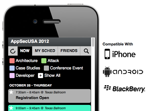 Mobile Schedule for AppSecUSA 2012